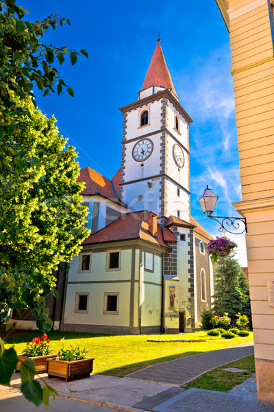 Colorful street of baroque town Varazdin view Stock photo © xbrchx