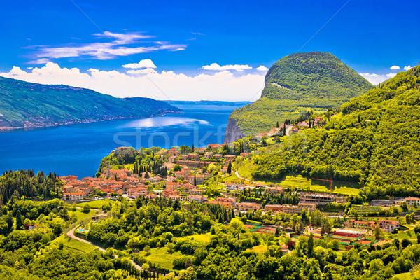 Garda lake west coast cliffs and Pieve village view Stock photo © xbrchx