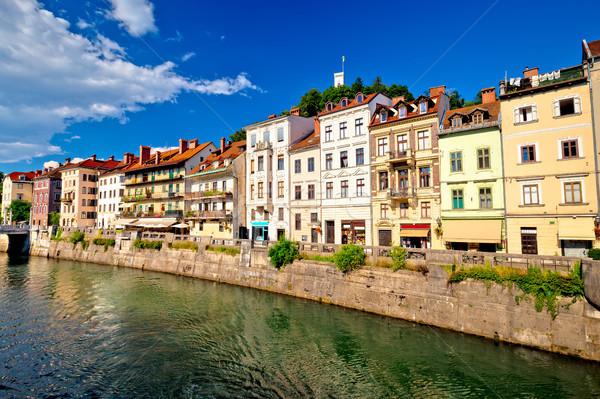 Stad rivier architectuur hemel gebouw Stockfoto © xbrchx