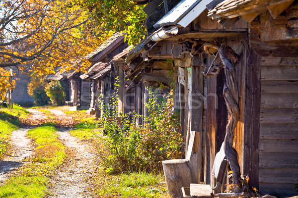 Historic wooden cottages street Ilica Stock photo © xbrchx