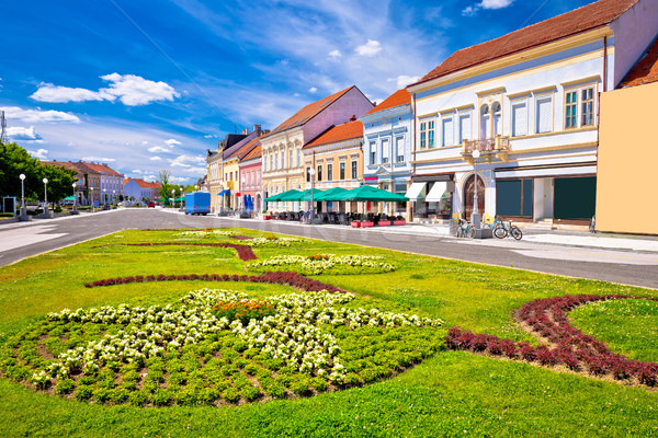 Town of Koprivnica old street and park view Stock photo © xbrchx