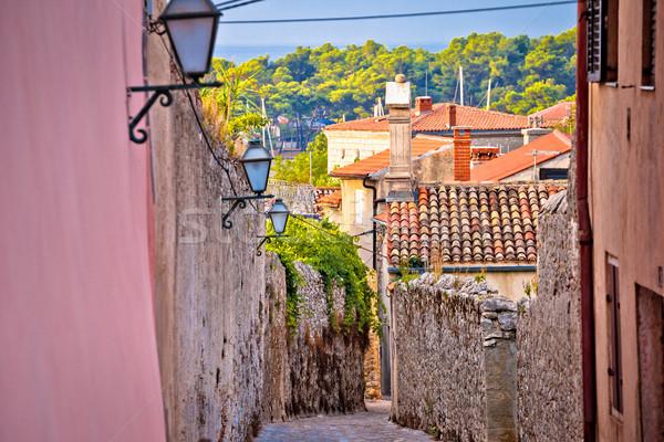 Old town of Krk stone street view Stock photo © xbrchx