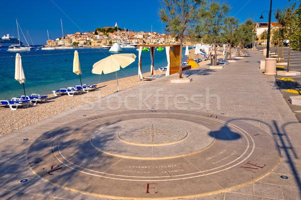 Town of Primosten coast and walkway view Stock photo © xbrchx