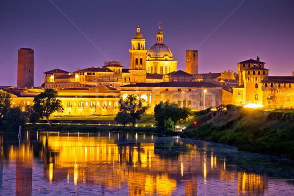 City of Mantova skyline evening view Stock photo © xbrchx