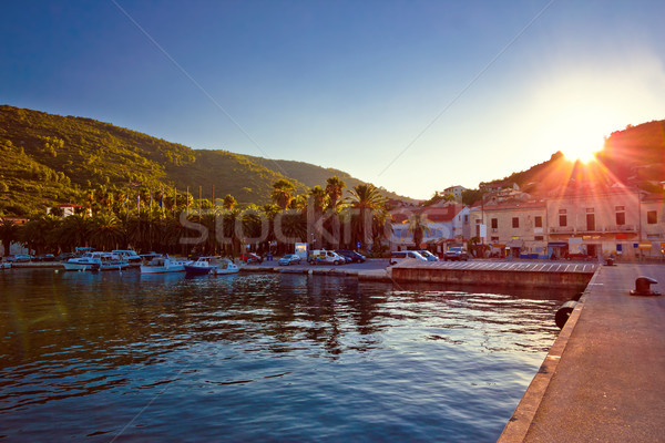 Island of Vis harbor at sunset view Stock photo © xbrchx