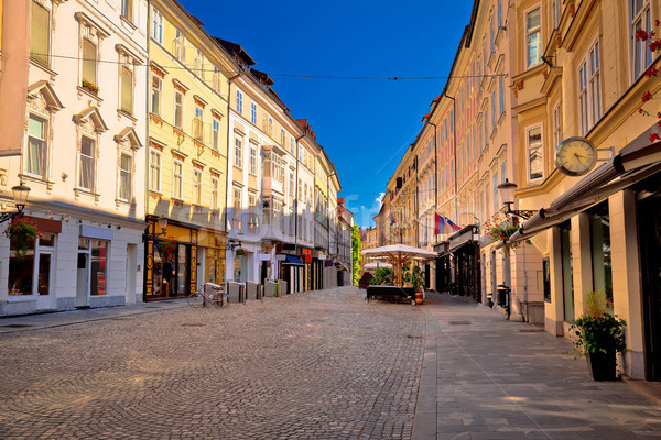 Old town of Ljubljana colorful street and architecture Stock photo © xbrchx
