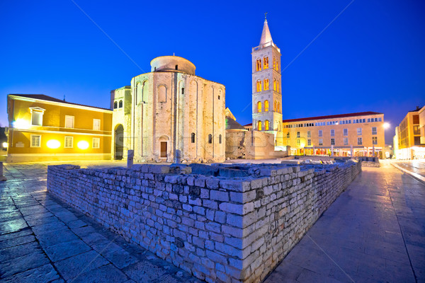 Zadar historic square and church evening view Stock photo © xbrchx