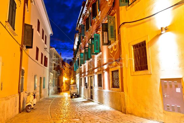 Old stone street of Rovinj evening view Stock photo © xbrchx