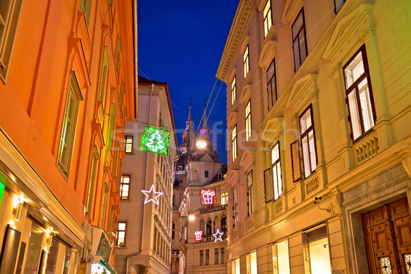 Graz city center christmas street evening view Stock photo © xbrchx