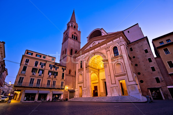 Mantova city Piazza Andrea Mantegna evening view Stock photo © xbrchx