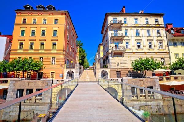Ljubljanica river bridge and riverfront architecture of Ljubljan Stock photo © xbrchx