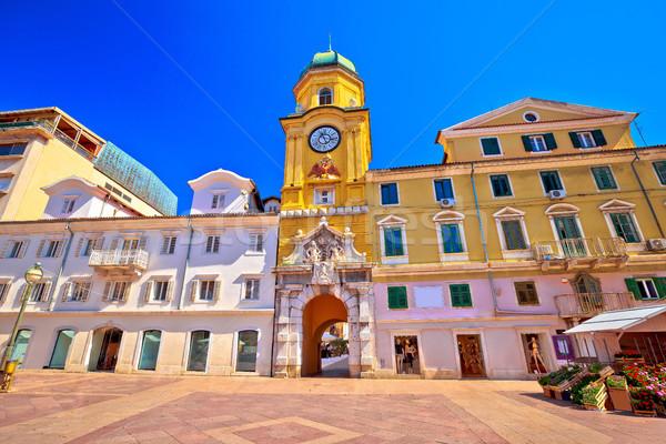 City of Rijeka main square and clock tower view Stock photo © xbrchx
