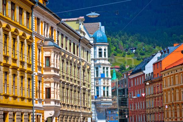 Colorido arquitectura histórica alpino ciudad cielo agua Foto stock © xbrchx