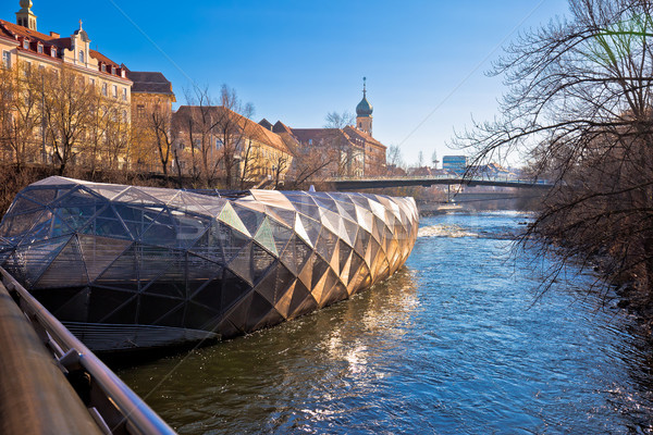 City of Graz Mur river and Murinsel view Stock photo © xbrchx
