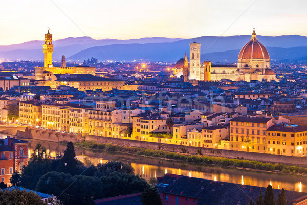 Florence cityscape panoramic evening view Stock photo © xbrchx