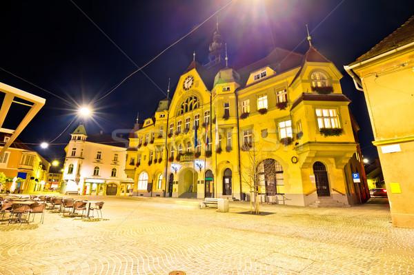 Town of Ptuj historic main square evening view Stock photo © xbrchx