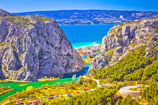 Cetina river canyon and mouth in Omis view from above Stock photo © xbrchx