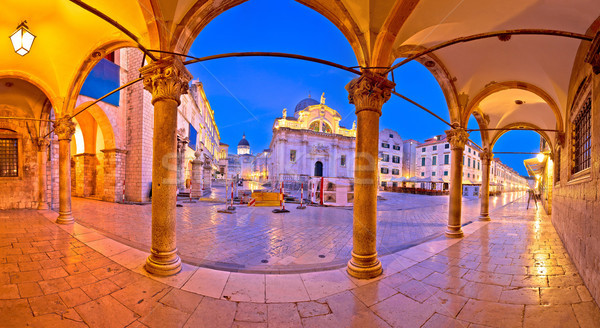 Stradun in Dubrovnik arches and landmarks panoramic view at dawn Stock photo © xbrchx