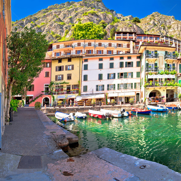 Limone sul Garda turquoise harbor panoramic view Stock photo © xbrchx