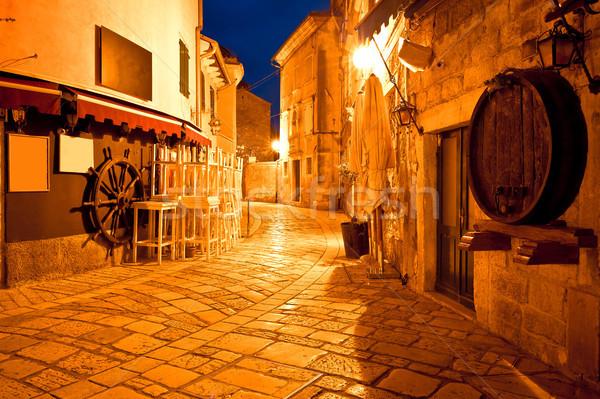 Adriatic town of Porec street evening view Stock photo © xbrchx