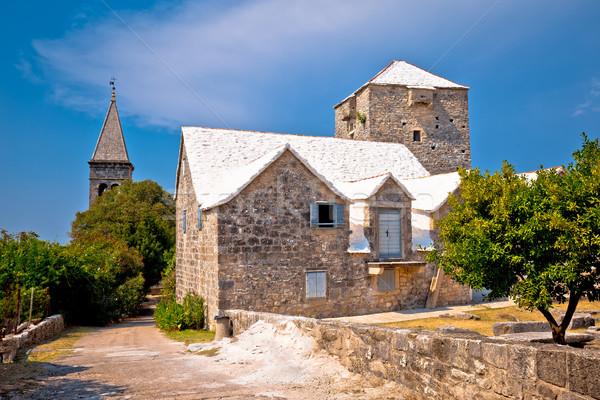Kő falu kilátás sziget ház épület Stock fotó © xbrchx