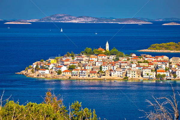 Primosten archipelago and blue Adriatic sea view Stock photo © xbrchx