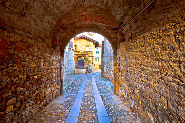 Colorful cobbled street of Cividale del Friuli Stock photo © xbrchx