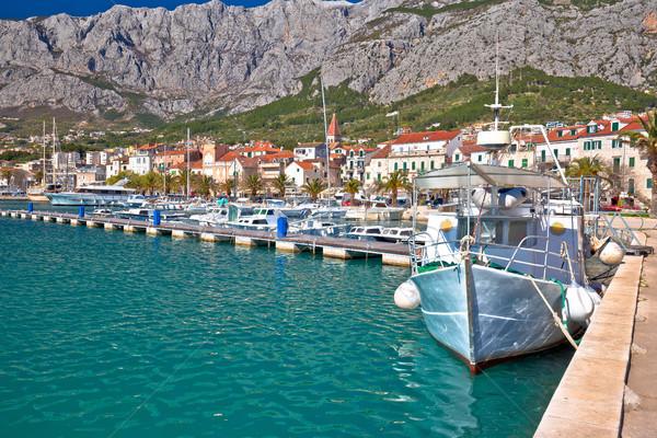Colorido barcos montana vista región Foto stock © xbrchx