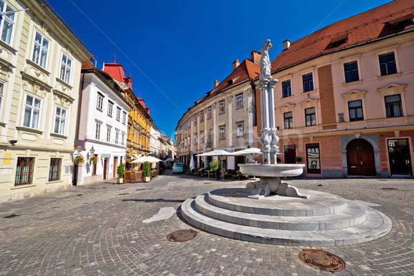 Cobbled streets of old Ljubljana Stock photo © xbrchx