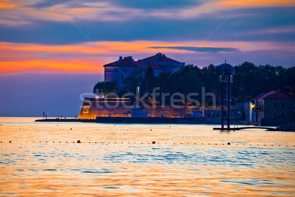 Bord de l'eau or coucher du soleil vue région Croatie Photo stock © xbrchx