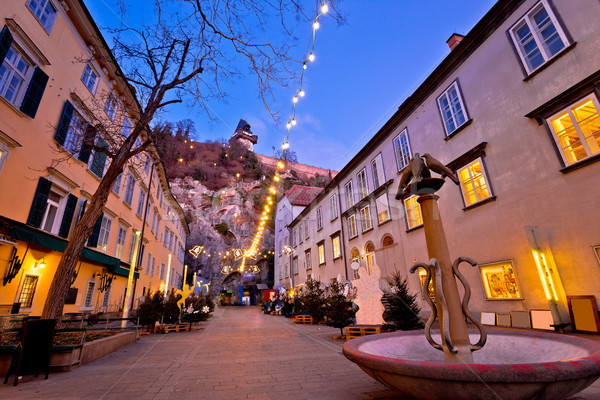 Graz city center christmas fair evening view Stock photo © xbrchx