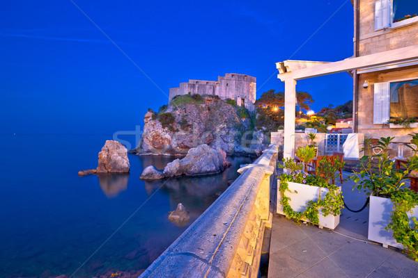 Dubrovnik bord de l'eau repère nuit vue région Photo stock © xbrchx