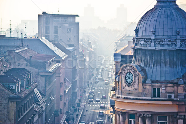 Busy Zagreb street in morning haze Stock photo © xbrchx