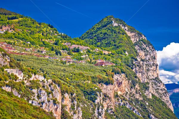 Garda lak cliffside villages of Gardola and Oldesio with Madonna Stock photo © xbrchx