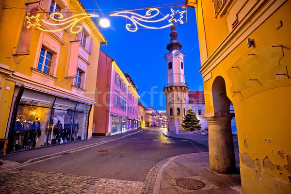 Kötü sokak akşam advent görmek bölge Stok fotoğraf © xbrchx