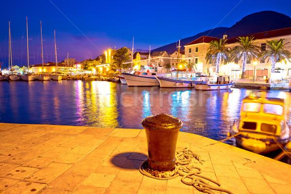 Town of Bol on Brac island harbor at sunset view Stock photo © xbrchx