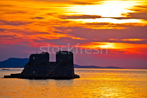 Sukosan old ruin on the sea sunset view Stock photo © xbrchx