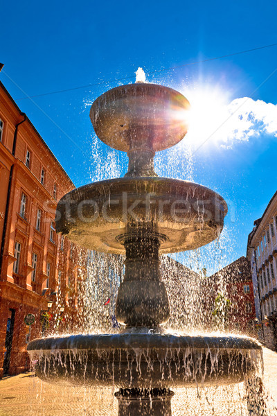 Ljubljana fountain sun haze vertical view Stock photo © xbrchx
