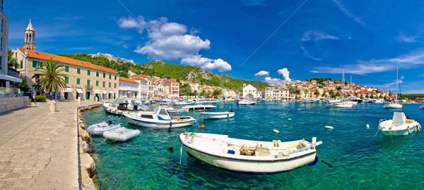 Coastal town of Hvar waterfront panorama Stock photo © xbrchx