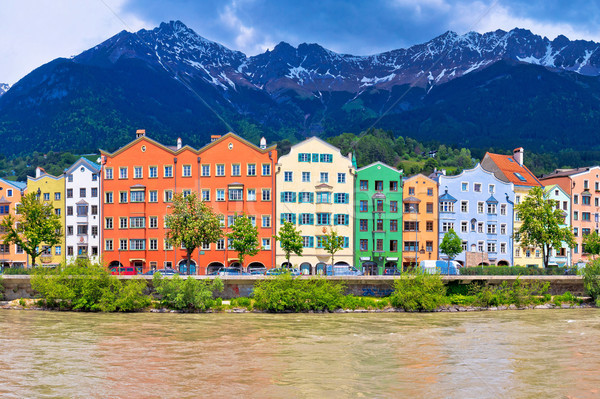 City of Innsbruck colorful Inn river waterfront panorama Stock photo © xbrchx