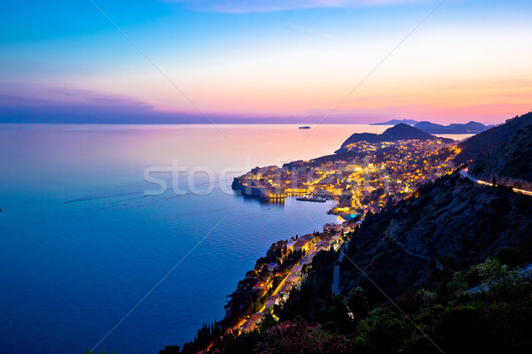 Town of Dubrovnik archipelago sunset view from above Stock photo © xbrchx