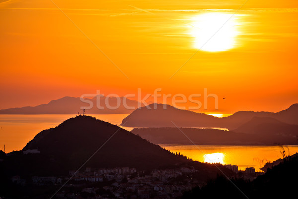 Idyllic sunset above Dubrovnik archipelago view Stock photo © xbrchx