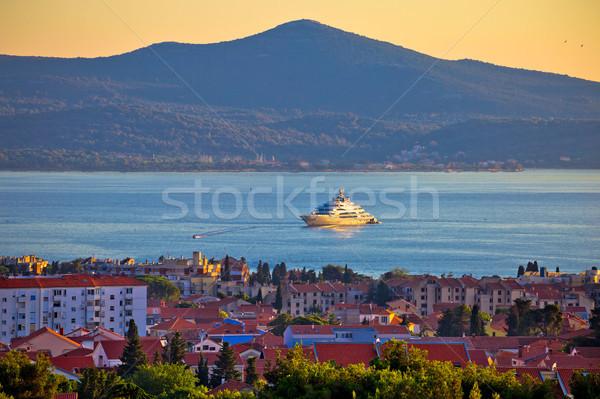 Zadar waterfront and Ugljan island sunset view Stock photo © xbrchx