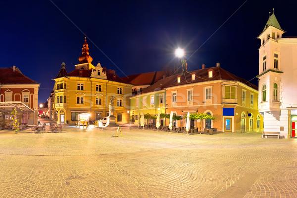 Town of Ptuj historic main square panoramic evening view Stock photo © xbrchx