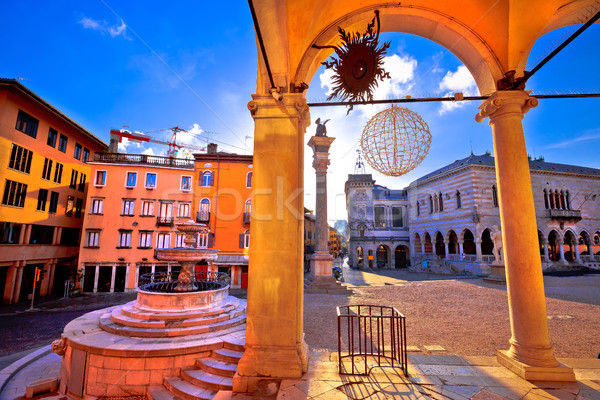 Ancient Italian square arches and architecture in town of Udine Stock photo © xbrchx