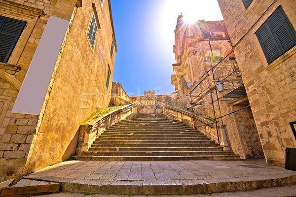Dubrovnik historic steps street view Stock photo © xbrchx