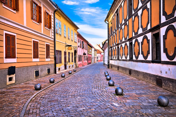Old street of baroque town of Varazdin Stock photo © xbrchx