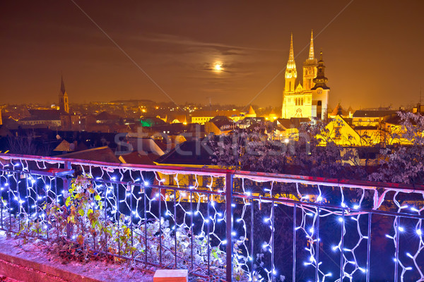 Zagreb cathedral and cityscape evening advent view Stock photo © xbrchx