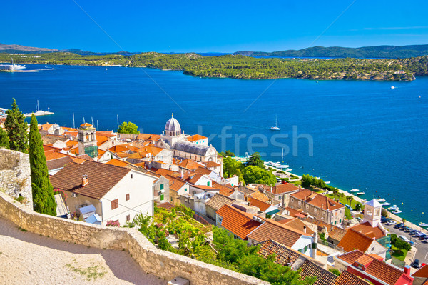 Sibenik waterfront and st James cathedral view from above Stock photo © xbrchx