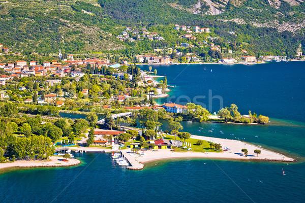 Town of Torbole on Garda lake aerial view Stock photo © xbrchx